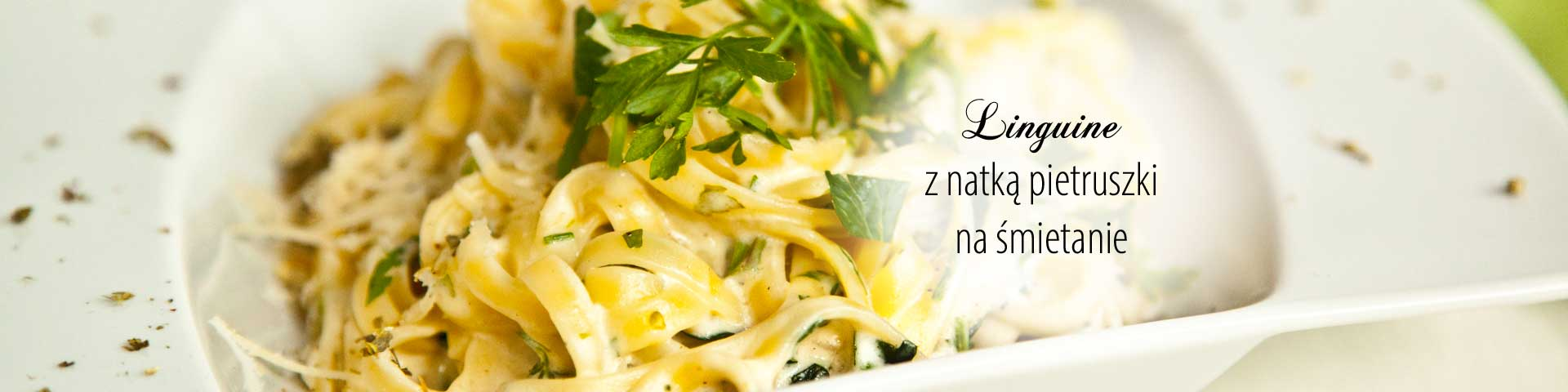 Linguine with a parsley cream sauce
