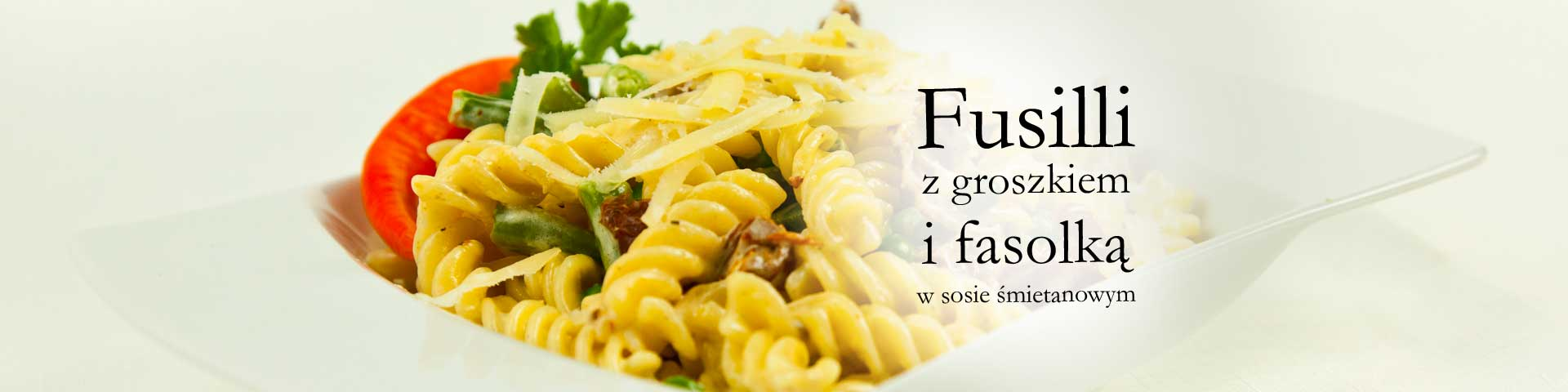 Fusilli with peas and beans in a cream sauce