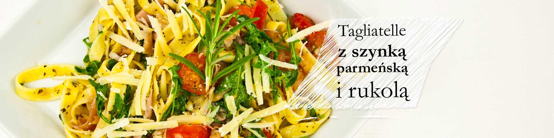 Tagliatelle with Parma ham and arugula